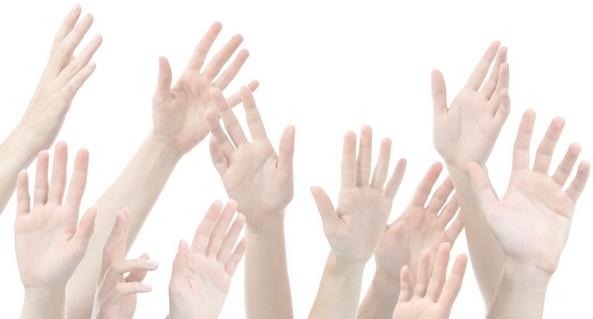 Afbeelding van opgestoken handen